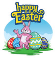easter rabbit with painted colorful easter eggs vector image