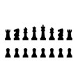 editable silhouettes a set standard chess vector image vector image
