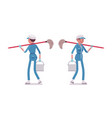 female janitor walking rear and front view vector image vector image