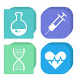 flask and syringe dna and heart isolated icons vector image