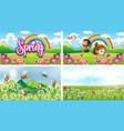four background scenes with children and animals