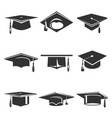 graduation caps icons set isolated from vector image vector image