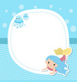 greeting card withcute girl mermaid greeting card vector image
