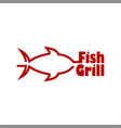 grill fish restaurant logo template vector image vector image