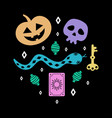 halloween card with funny pumpkin and skull vector image