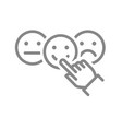 hand chooses between happy and sad rating line vector image