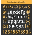 Hand drawn alphabet and letters numbers brush vector image vector image