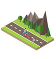 isometric countryside summer road man cycling on vector image vector image