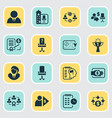 job icons set with investor cash flow financing vector image