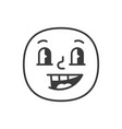 joyful smile fase black and white emoji eps 10 vector image vector image