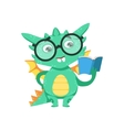 Little Anime Style Smart Bookworm Baby Dragon vector image vector image