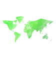 low poly map of world in shades of green vector image