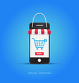 online shopping with smartphone vector image vector image