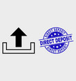 outline upload icon and scratched direct vector image vector image