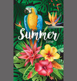 Parrot with tropical and flowers