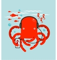 Red Octopus Listening to Smartphone Music vector image