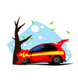 road incident red car crashed on a tree vector image vector image