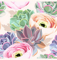 seamless flowers and succulents vector image vector image