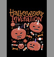 set halloween party invitation with pumpkins vector image vector image