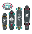 Set of camp emblems on longboard vector image vector image