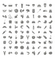 set of monochrome icons with food and drinks vector image