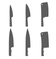 Set of six kitchen knives vector image