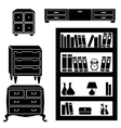 Set silhouettes of cupboard chests and bookshelf vector image