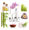 spa salon accessories set realistic vector image