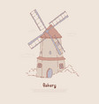 traditional windmill rural architecture flour vector image