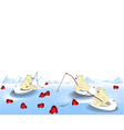 Valentine fishing vector image vector image