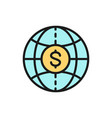 world with coin global cash money vector image