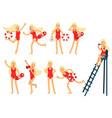 young lifeguard woman character doing her job set vector image vector image