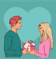 young man give gift box to woman over heart shape vector image