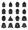 face of Buddha at simple black style on white vector image