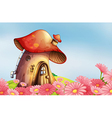 A garden with a mushroom house vector image vector image