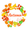 autumn round frame of colorful leaves vector image vector image