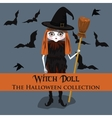 background Halloween style with witch doll vector image vector image