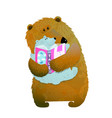 bear family reading vector image vector image