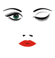 beautiful womens portrait long lashes red lips vector image vector image