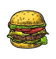 Burger include cutlet tomato cucumber and salad vector image vector image