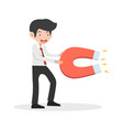 businessman hold big magnet cartoon vector image vector image