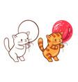 cartoon cat with a balloon vector image