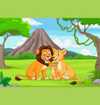 cartoon family lion in jungle vector image vector image