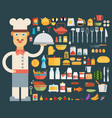 chef cooking kitchen tools set flat vector image vector image