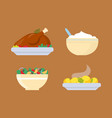 chicken and potatoes fresh salad from vegetables vector image