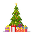christmas tree and holiday gifts vector image vector image