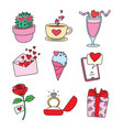 collection cartoon valentines day vector image
