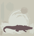 Crocodile silhouette on grunge background vector image vector image