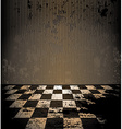 Dirty room with checkered floor vector image vector image