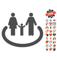 family area icon with lovely bonus vector image vector image